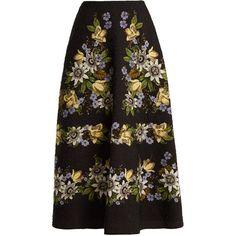 Erdem Tiana matelassé  A-line skirt ($1,598) ❤ liked on Polyvore featuring skirts, black multi, high-waist skirt, flower skirt, high waisted skirt, high-waisted skirt and knee length flared skirts