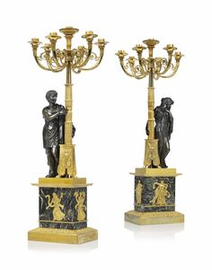 A PAIR OF EMPIRE ORMOLU AND PATINATED-BRONZE SEVEN-LIGHT CANDELABRA EARLY 19TH CENTURY, AFTER THE MODEL BY FRANCOIS-THIMOTEE MATELIN