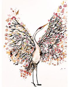 """Modern watercolor fine giclee art print on luxurious and textural Somerset Velvet fine art cotton rag paper. Titled: Tsuru (Japanese word for """"crane"""") Size: x Printed Watercolor And Ink, Watercolor Illustration, Watercolor Paintings, Ink Painting, Crane Tattoo, Botanical Tattoo, Whimsical Art, Drawing, Amazing Art"""