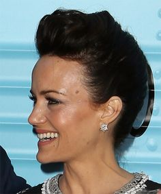 Carla Gugino Elegant Updo. Try on this hairstyle! http://www.thehairstyler.com/hairstyles/casual/short/straight/carla-gugino