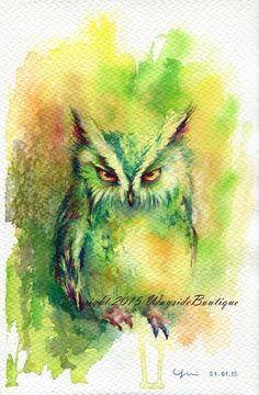 The Owl ORIGINAL watercolor painting 7.5x11 by WaysideBoutique