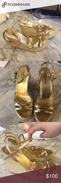 Prada gold and straw platforms sz 8 The perfect summer platform. Neutral straw and gold super comfortable despite being high - maybe 4 to 4.5 inches. Little scuff on from toe as seen in images. Sold as is Prada Shoes Platforms
