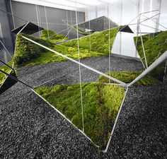 Integration of greenery Hanging Moss Garden from the moistscape Installation, Henry Urbach Gallery, New York NY images via FreeCell Green Architecture, Landscape Architecture, Architecture Design, Classical Architecture, Ancient Architecture, Sustainable Architecture, Installation Architecture, Urban Landscape, Landscape Design