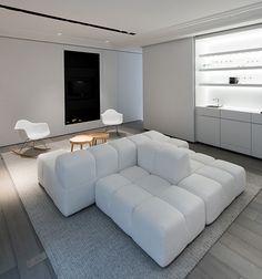 maison contemporaine design / blanc / intérieur moderne / salon ... - Meuble Design Lille