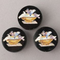 Lot:185: COLLECTION OF THREE MICRO-MOSAIC BUTTONS., Lot Number:185, Starting Bid:$200, Auctioneer:Michaan's Auctions, Auction:185: COLLECTION OF THREE MICRO-MOSAIC BUTTONS., Date:08:00 AM PT - Jul 1st, 2012