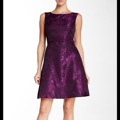 """Lovely Jacquard Easter Dress Shiny purple sleeveless floral jacquard pattern with boat neck. Lined with concealed back zipper, length 37"""". Tahari Dresses"""