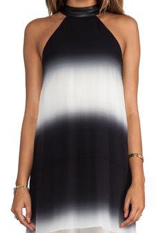 Halter Maxi Dress in Black/White Ombre