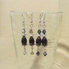 Handmade Black Teardrop & Silver Dangle Earrings by Pizzelwaddels, $17.97