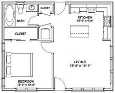 Tiny House Cabin, Tiny House Living, Tiny House Design, Apartment Floor Plans, One Bedroom Apartment, Small Apartment Plans, 1 Bedroom House Plans, Two Bedroom Tiny House, Granny Pod