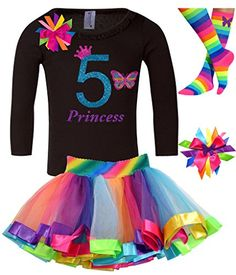 Bubblegum Divas Little Girls 5th Birthday Butterfly Shirt Rainbow Tutu Socks Hair Bow 4pc Outfit 56 * Click on the image for additional details. Amazon Affiliate Program's Ads.