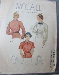 McCall 8244 | ca. 1935 Ladies' & Misses' Blouse