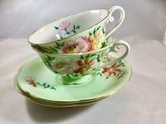 Tea cups Set of 2 Occupied Japan Trimont China Soft Green pink Flowers 1945 to 1950