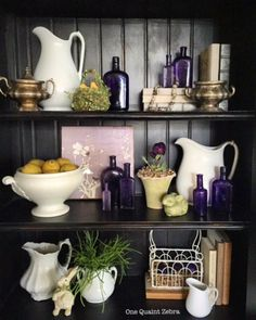 Collection of Ironstone & purple bottles