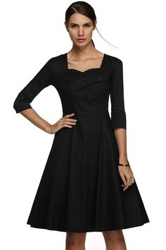VOG Women's Scoop Neck Half Sleeve Vintage Classical Casual Swing Evening Dress * To view further, visit now : black dress