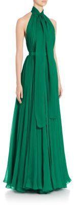 Alexander McQueen Silk Creponne Halter Tie Neck Gown