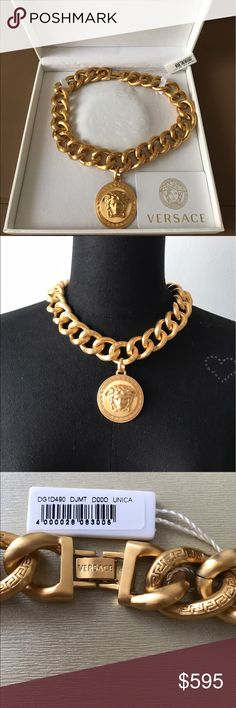 Versace Medusa Gold Necklace ! NIB ! New , 100% authentic Versace Medusa Necklace .its not solid gold and I m not sure what is made of . Pretty heavy piece but looks gorge . Comes with a tag and 2 boxes . No issues . Retail -995$ plus tax . Sorry , no trading -;(. Thanks !! Versace Jewelry Necklaces