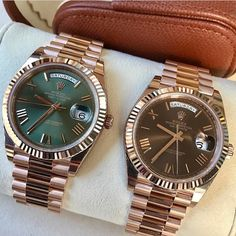 Rolex Watches - Rolex Watches - Good morning with 2 beautiful DAY DATE 40 Ref 228235 Rolex Watches For Men, Vintage Watches For Men, Luxury Watches For Men, Nice Watches, Dream Watches, Rolex Diamond Watch, Gold Diamond Watches, Rose Gold Rolex, Rolex Day Date
