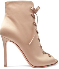 Gianvito Rossi - Lace-up Satin Boots - Neutral