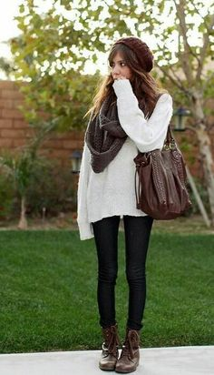 Oversize sweater + jeans + boots + scarf + hat = cute fall outfit.