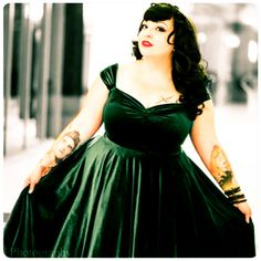 "Tea Length * 48"" Length Hunter Green Velvet Cherrybomb Swing Dress by HARDLEY DANGEROUS 1950s, Rockabilly Bridesmaid, Pin Up Semi Formal"