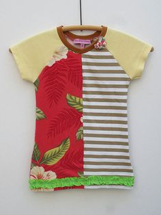 Upcycled OOAK  Eco Friendly Girl Size1 TShirt by TwoSweetMamas, $30.00