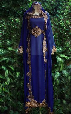 Moroccan Dark Blue Hoodie Sheer Chiffon Caftan Full Gold Embroidery Dubai Abaya Maxi Dress farasha Jalabiya on Etsy, $77.77