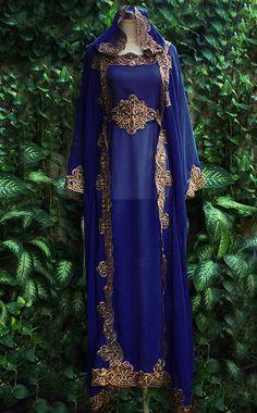 Moroccan Dark Blue Hoodie Sheer Chiffon Caftan Full Gold Embroidery Dubai Abaya Maxi Dress farasha Jalabiya on Etsy, $77.77