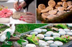 """Beim Steinritual schreibt jeder Gast einen Wunsch für das Brautpaar auf einen Stein. Später könnt Ihr dieses """"Gästebuch"""" wunderbar in Euren Garten integrieren."""