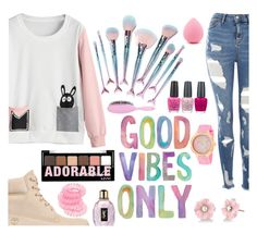 """""""good vibes only"""" by roosje-achtacht ❤ liked on Polyvore featuring Timberland, Topshop, OPI, Featherella, Forever 21, Irene Neuwirth, Charlotte Russe, Yves Saint Laurent and Miss Selfridge"""