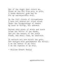 @gypsyandtheraven | William Ernest Henley | Invictus | Poetry
