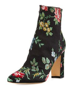 S0GAN Manolo Blahnik Insopo Floral-Embroidered Ankle Boot