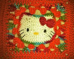 Crochet Hello Kitty Blanket -  Melon/Fall Mix