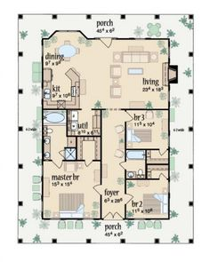 Innovative Ideas One Story House Plans With Wrap Around Porch Marvelous Wrap Around Porch Floor Plan Main Level - House Plans Porch House Plans, House Plans One Story, One Story Homes, House With Porch, Story House, Small House Plans, House Floor Plans, Square House Plans, The Plan