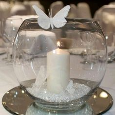 Multi-purpose fish bowls / ornaments decorative candle holders / vases bargain - New Sites Wedding Decorations, Christmas Decorations, Butterfly Table Decorations, Butterfly Centerpieces, Fish Bowl Centerpiece Wedding, Fishbowl Centerpiece, Quinceanera Decorations, Diy Christmas, Mirror Wedding Centerpieces