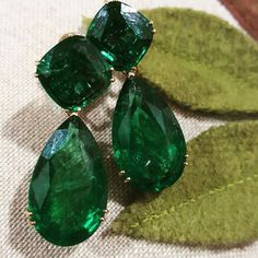 @thejewellcloset . Stunning Emerald  Earrings by @nands68 . The pears weighs 30cts and the cushions weighs 12 cts .