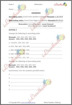 Home - iLiveThuto Kids Class, Grade 3, 5th Grades, Mathematics, Worksheets, Names, Chart, Activities, How To Plan