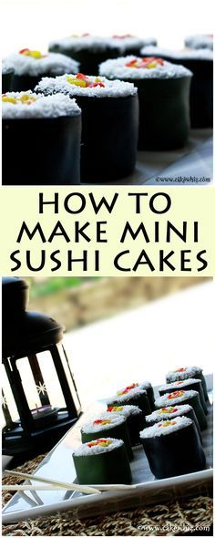 How to make MINI SUSHI CAKES. These are actually little cakes that look just like sushi. So much fun to make for kids and even great for April Fool's Day just for a few laughs ; Sushi Torte, Sushi Cake, Sushi Cupcakes, Fondant Cakes, Cupcake Cakes, Just Desserts, Dessert Recipes, Cake Recipes, Dessert Sushi