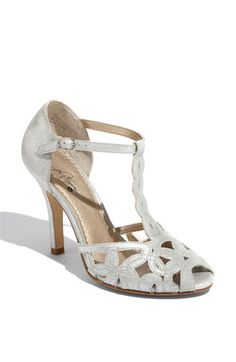 "$79.94 BP. 'Candle' Sandal  Gleaming leather twines into feminine shapes on an airy T-strap sandal lifted by a slim wrapped heel.        Approx. heel height: 4"".      Leather upper/polyurethane lining/rubber sole.      By BP.; imported.      BP. Shoes."