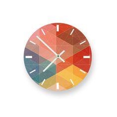 "Colored Geometry 8"" Wall Clock. $19.41, via Etsy."