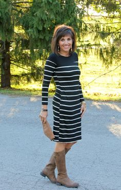 I'm styling the Hayworth midi striped dress. This is great classic dress.