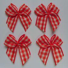 """1"""" Orange / White Check Gingham Ribbon Bows Appliques- 48 Pcs (R0128O)"""