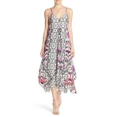 """Charlie Jade Print Silk Handkerchief Dress Currently selling at Nordstrom for $198 + tax. I carry this brand in my online boutique, and this was my sample size in this particular dress, so it's an XS/S.  A vibrant mix of eclectic prints enhances the free-spirited charm of this lightweight, flowy silk dress suspended from two skinny straps that cascades into a breezy asymmetrical hem. * 47"""" highest point length; 53"""" lowest point length. * Slips on over head. * V-neck. * Adjustable straps…"""