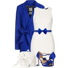 Bow-ed Over in Blue & White, created by callmeadie on Polyvore