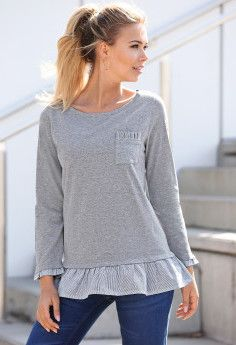 Tričko s prúžkami, efekt 2 v 1 Pullover, Sweaters, Fashion, Moda, Fashion Styles, Sweater, Fashion Illustrations, Sweatshirts, Pullover Sweaters