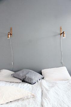 Grey, Copper, Black & White // Simple copper sconces - grey and copper colour scheme @Liv @Cathy Wall