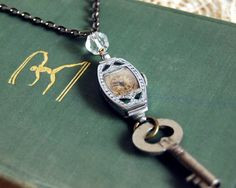 Vintage Watch Necklace Art Deco Bulova Watch, Skeleton Key, Steampunk Jewelry