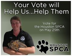 We're counting on you to vote for the Houston SPCA this Friday (May 25th) and help us win a new Toyota in the 100 Cars for Good Program.  Post this on your wall and get your friends to join us in giving orphaned, abused or neglected animals a 2nd chance at life. You can learn more @ www.houstonspca.org and you can set up a custom reminder to vote this Friday @ www.100carsforgood.com.
