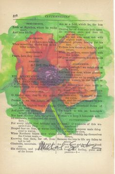 Watercolor Poppy Print on Antique Book Page, Free Shipping in the US