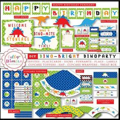 Dinosaur Birthday Party Kit printable cupcake toppers, wrappers, invite, banner INSTANT DOWNLOAD DIY