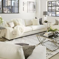 Modern Sectional Sofas Lionel Deep Seating White Fabric Feather Down Filled Extra long inch Sofa by